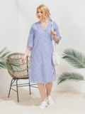Платье на запах большого размера в полоску голубое 46220, фото 1