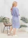 Платье на запах большого размера в полоску голубое 46220, фото 2