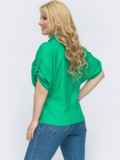 Зеленая рубашка свободного кроя батал 46226, фото 2