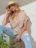 Бежевая блузка прямого кроя из хлопка 49120, фото 1