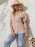 Бежевая блузка прямого кроя из хлопка 49120, фото 3