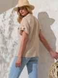 Бежевая блузка прямого кроя из хлопка 49120, фото 4