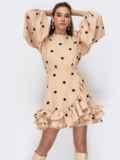 Бежевое платье из софта в горох с открытой спиной 53475, фото 1