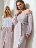 Платье-макси в полоску с открытыми плечами бежевое 46822, фото 1