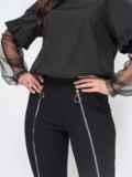 Чёрный брючный костюм большого размера с кофтой 44674, фото 3