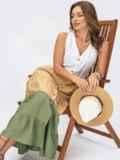 Платье миди без рукавов на пуговицах цвета хаки 54353, фото 1