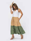 Платье миди без рукавов на пуговицах цвета хаки 54353, фото 2