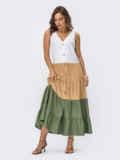 Платье миди без рукавов на пуговицах цвета хаки 54353, фото 3