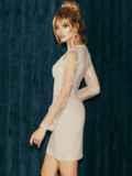 Бежевое платье-футляр из замши с кружевным верхом 52316, фото 4
