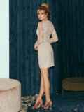 Бежевое платье-футляр из замши с кружевным верхом 52316, фото 5