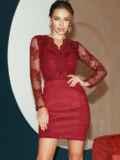 Бордовое платье-футляр из замши с кружевным верхом 52315, фото 1