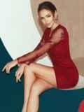 Бордовое платье-футляр из замши с кружевным верхом 52315, фото 6