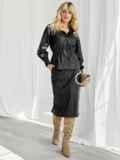 Чёрный комплект из искусственной кожи с жакетом и юбкой 50068, фото 2