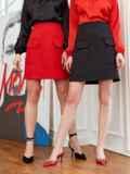 Красная юбка-трапеция из мемори-коттона с карманами 53496, фото 1