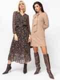 Платье из замши с воротником-аскот бежевое 52852, фото 4