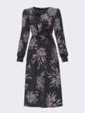 Принтованное платье черного цвета с жабо и юбкой-трапецией 52855, фото 5