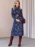 Синее платье с рюшами по полочке и юбкой-трапецией 52859, фото 2