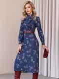 Синее платье с рюшами по полочке и юбкой-трапецией 52859, фото 3