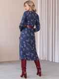 Синее платье с рюшами по полочке и юбкой-трапецией 52859, фото 4