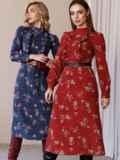 Синее платье с рюшами по полочке и юбкой-трапецией 52859, фото 5