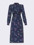 Синее платье с рюшами по полочке и юбкой-трапецией 52859, фото 6