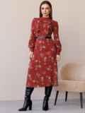 Терракотовое платье с рюшами по полочке и юбкой-трапецией 52860, фото 3