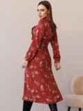 Терракотовое платье с рюшами по полочке и юбкой-трапецией 52860, фото 6