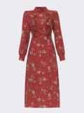 Терракотовое платье с рюшами по полочке и юбкой-трапецией 52860, фото 7