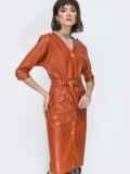 Терракотовое платье из эко-кожи с накладными карманами 44951, фото 1