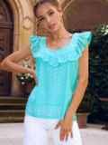 Голубая блузка из прошвы без рукавов с оборкой 54314, фото 2