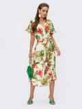 Платье из штапеля с цветочным принтом на пуговицах желтое 54311, фото 2