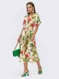 Платье из штапеля с цветочным принтом на пуговицах желтое 54311, фото 3