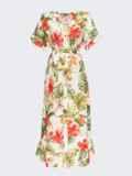Платье из штапеля с цветочным принтом на пуговицах желтое 54311, фото 5