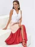 Платье миди без рукавов на пуговицах коралловое 54310, фото 1