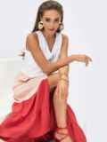 Платье миди без рукавов на пуговицах коралловое 54310, фото 2