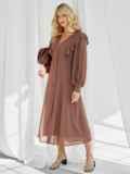 Романтичное платье-миди приталенного силуэта коричневого цвета 50113, фото 2