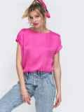 Розовая блузка свободного кроя с резинкой по низу 48427, фото 2