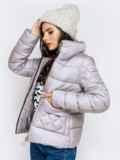 Стёганая куртка с накладными карманами серая 40719, фото 3
