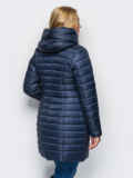 Тёмно-синяя зимняя стёганая куртка 15251, фото 2