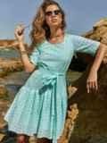 Свободное платье из прошвы с воланом по низу зеленое 48207, фото 1