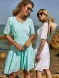 Свободное платье из прошвы с воланом по низу зеленое 48207, фото 2