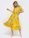 Жёлтое платье с кулиской в поясе и рукавами-воланами 48509, фото 2