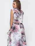 Белое платье в цветочный принт с открытой спинкой 48168, фото 3