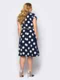 Платье-рубашка большого размера в горох темно-синее 53602, фото 3