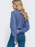 Синяя рубашка прямого кроя с принтом 45747, фото 3