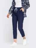 Укороченные брюки со стандартной посадкой темно-синие 54649, фото 1