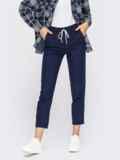 Укороченные брюки со стандартной посадкой темно-синие 54649, фото 2