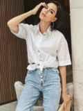 Белая блузка из хлопка с коротким рукавом 54616, фото 4