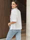 Белая блузка из хлопка с коротким рукавом 54616, фото 5