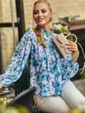 Белая блузка свободного кроя с голубыми цветами 54608, фото 1
